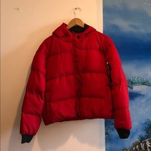LF red puffer jacket